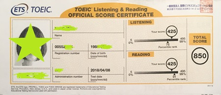TOEIC850点のスコア表